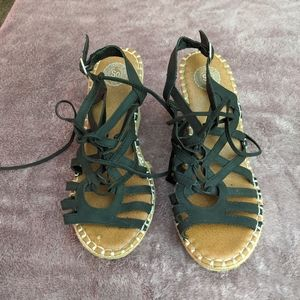 Black Wedge Heels- Around the ankle strap